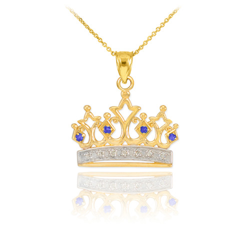 Gold Sapphire Crown Pendant Necklace with Diamonds