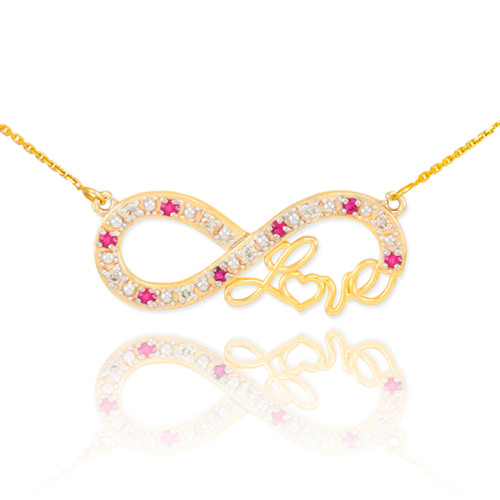 "14k Gold Ruby Infinity ""Love"" Script Necklace with Diamonds"