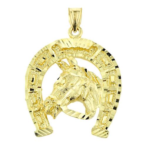 Gold Horse Head with Horseshoe Pendant