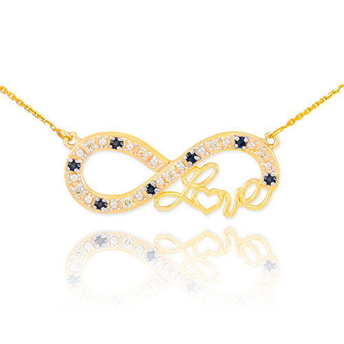 "14k Gold Infinity ""Love"" Script Necklace with Black and Clear Diamonds"