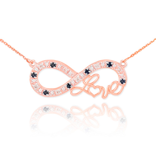 "14k Rose Gold Infinity ""Love"" Script Necklace with Black and Clear Diamonds"