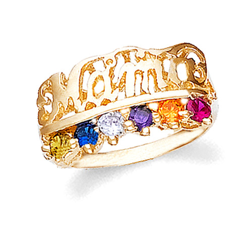 Gold Mama Ring with 6 Birthstones