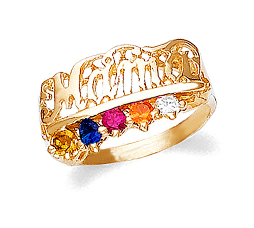 Gold Mama Ring with 5 Birthstones