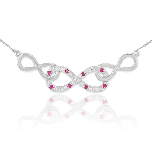 14k White Gold Ruby Triple Infinity Necklace with Diamonds