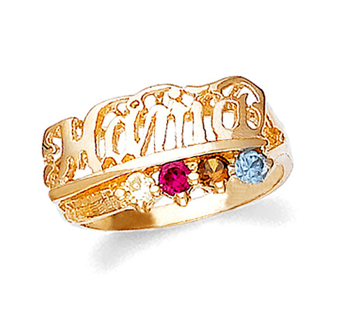 Gold Mama Ring with 4 Birthstones