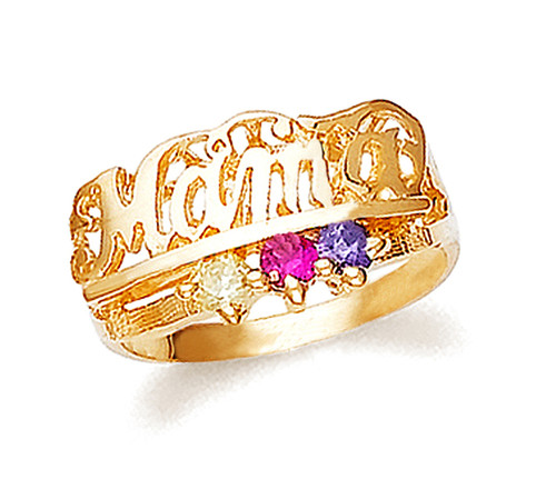 Gold Mama Ring with 3 Birthstones
