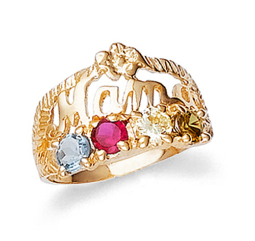 Mama Ring with 4 Birthstones