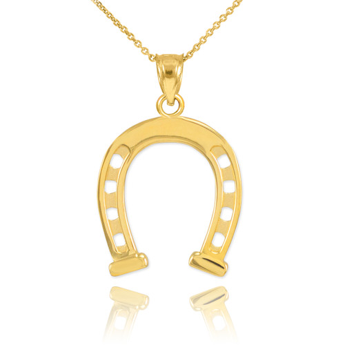 Gold Horseshoe Pendant Necklace