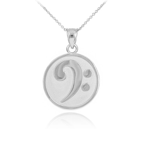 Solid White Gold Textured Bass F-Clef Charm Pendant Necklace