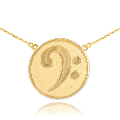 14k Solid Gold Textured Bass F-Clef Necklace