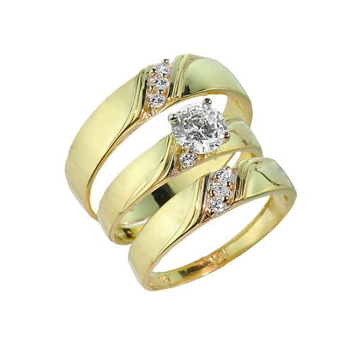3-Piece Gold CZ Wedding Ring Set
