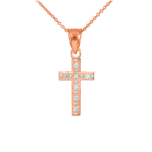 Rose Gold Small Cross Pendant Necklace with Diamonds