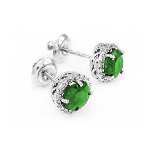 14k White Gold Diamond Emerald Earrings