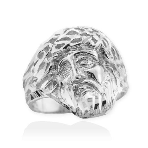 White Gold Jesus Face Diamond Cut Ring