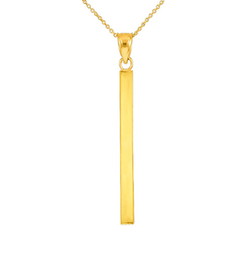 Solid Gold Vertical Bar Pendant Necklace