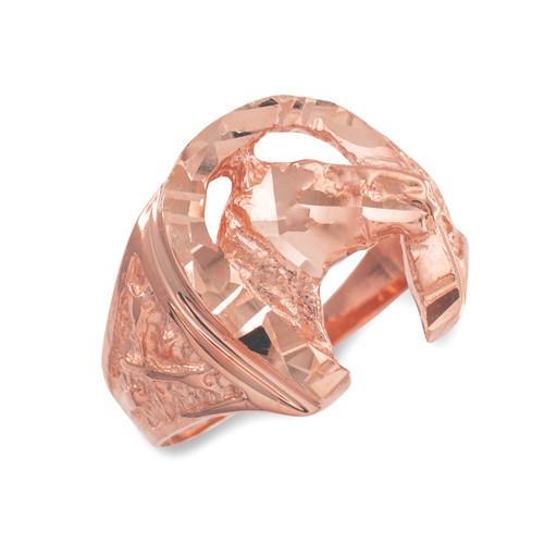 Rose Gold Horse Head with Horseshoe Diamond Cut Ring