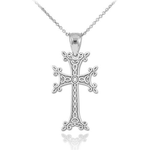 Sterling Silver Armenian Cross Pendant Necklace