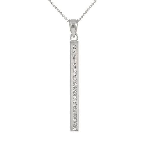 14k White Gold Vertical Diamond Bar Necklace
