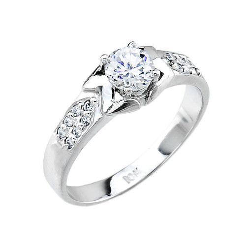 Ladies Micro Pave Cubic Zirconia Sterling Silver Engagement Ring