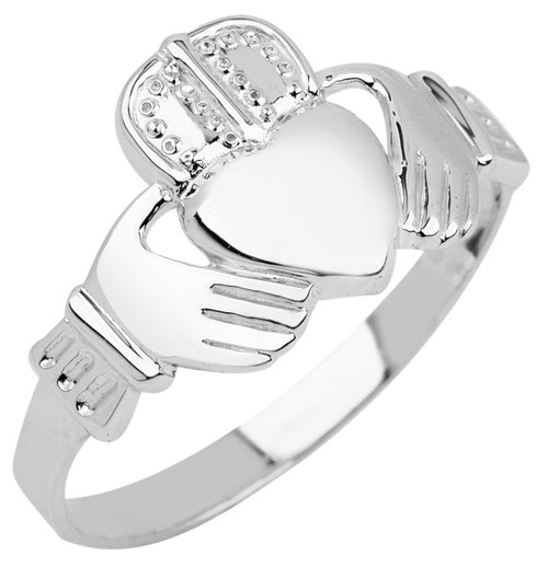 White Gold Claddagh Ring Mens