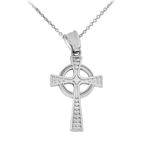 White Gold Celtic Cross Pendant