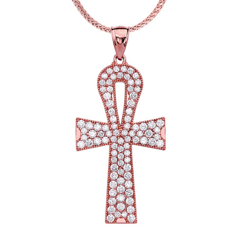Rose Gold 4 Carat Diamond Ankh Cross Pendant Necklace