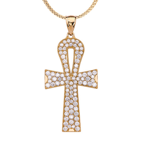 Yellow Gold 4 Carat Diamond Ankh Cross Pendant Necklace
