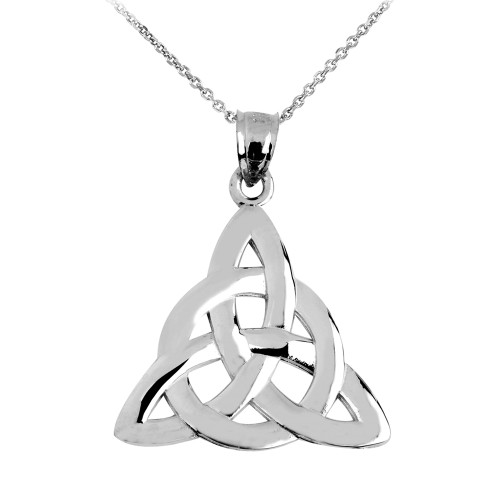 White Gold Celtic Trinity Pendant Necklace