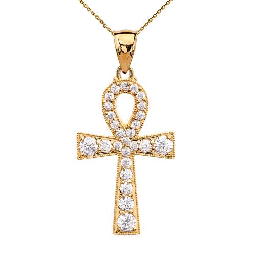 Ankh Cross Diamond Yellow Gold Pendant Necklace