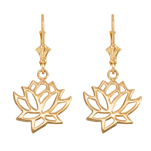 14K Gold Lotus Flower Leverback Earrings