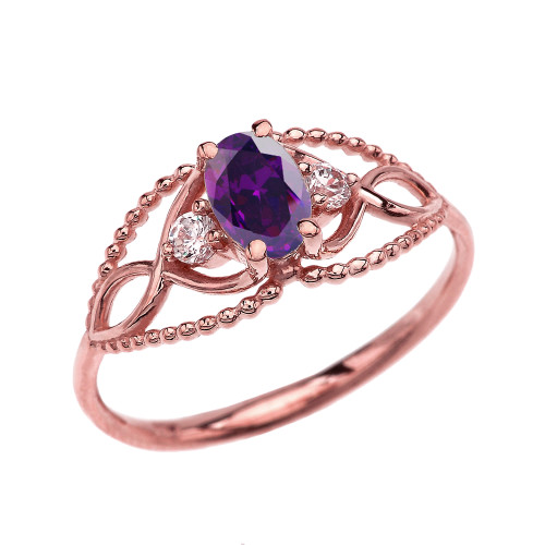 Elegant Beaded Solitaire Ring With Amethyst Centerstone and White Topaz in Rose Gold