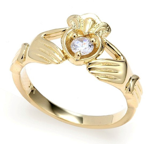Yellow Gold Diamond Claddagh Crown and Heart Engagement Ring