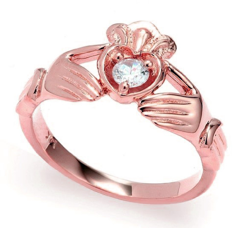 Rose Gold Diamond Claddagh Crown and Heart Engagement Ring