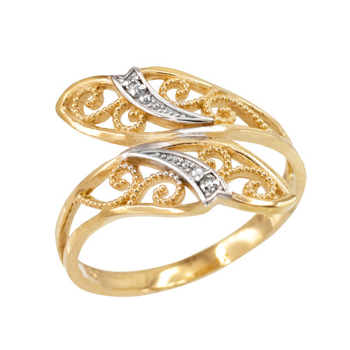 Yellow Gold Filigree Diamond Cut Leaf Ring