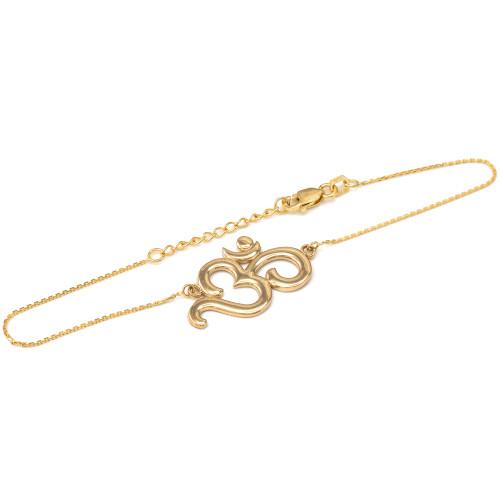 14K Polished Yellow Gold Om Bracelet