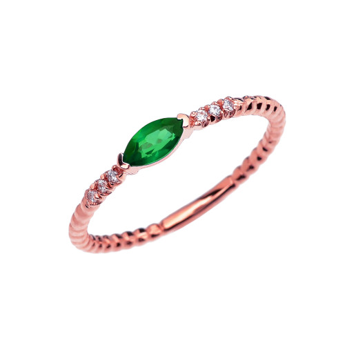 Diamond and Lab Created Emerald Marquise Solitaire Beaded Band Proposal/Stackable Rose Gold Ring