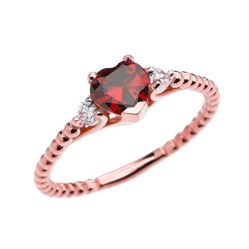 Garnet Solitaire Heart And White Topaz Rose Gold Beaded Band Promise Ring