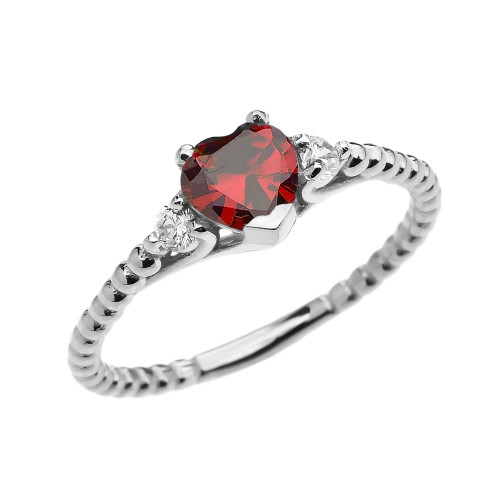 Garnet Solitaire Heart And White Topaz White Gold Beaded Band Promise Ring