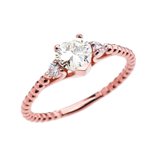 April Birthstone White CZ Solitaire Heart And White Topaz Rose Gold Beaded Band Promise Ring