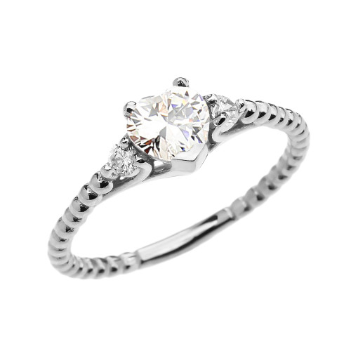 April Birthstone White CZ Solitaire Heart And White Topaz White Gold Beaded Band Promise Ring