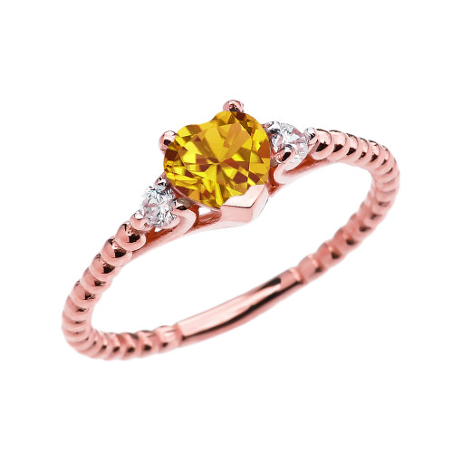 Citrine Solitaire Heart And White Topaz Rose Gold Beaded Band Promise Ring