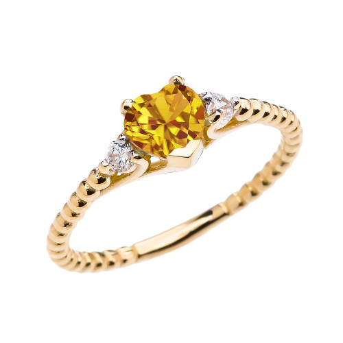 Citrine Solitaire Heart And White Topaz Yellow Gold Beaded Band Promise Ring