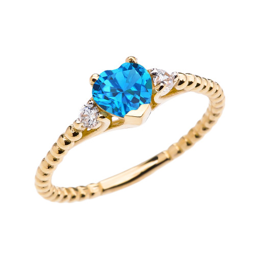 Blue Topaz Solitaire Heart And White Topaz Yellow Gold Beaded Band Promise Ring
