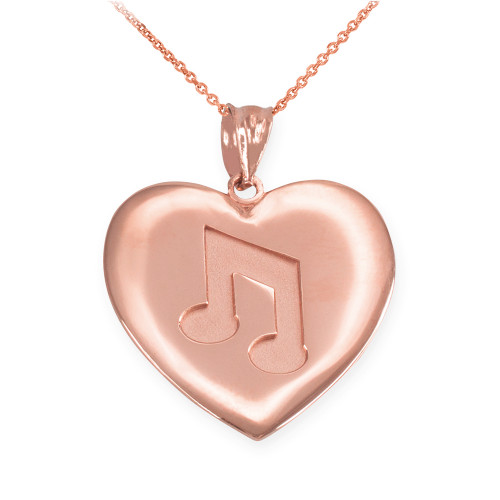 Rose Gold Heart Music Note Pendant Necklace