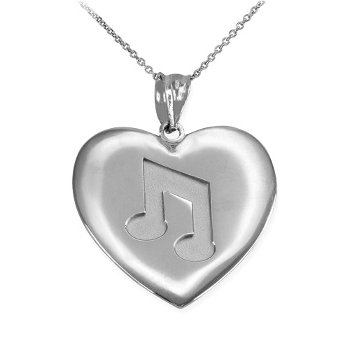 Sterling Silver Heart Music Note Pendant Necklace