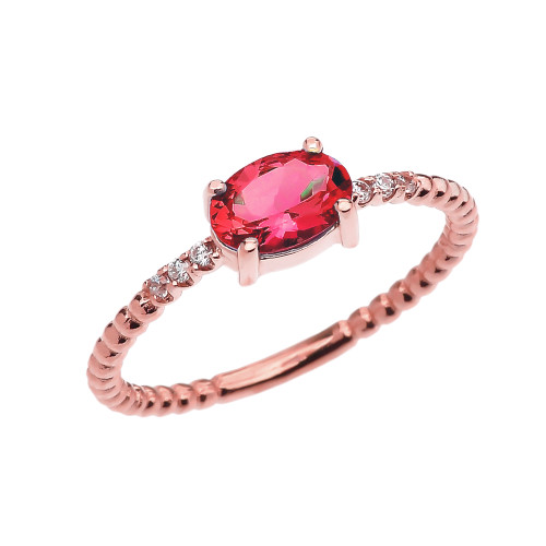 Diamond Beaded Band Ring With July Birthstone Ruby Centerstone in Rose Gold