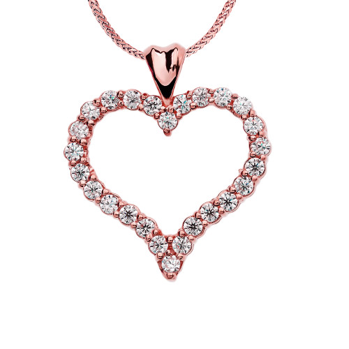 1 Carat Diamond Rose Gold Heart Pendant Necklace