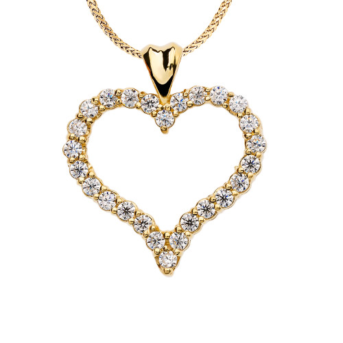 1 Carat Diamond Heart Yellow Gold Pendant Necklace