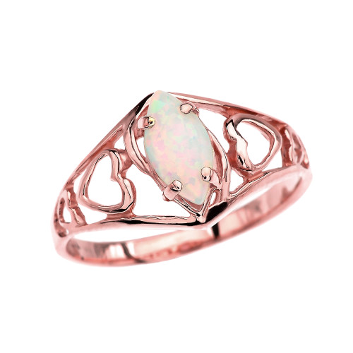 Rose Gold Heart Ring With Marquise Opal Centerstone