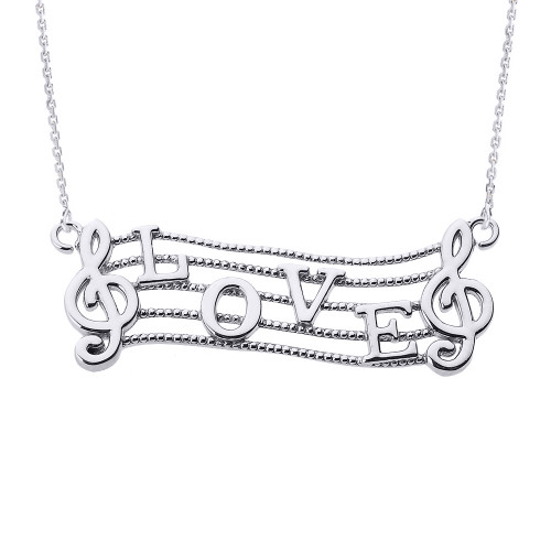"Sterling Silver Treble Clef with ""LOVE"" Script Pendant Necklace"
